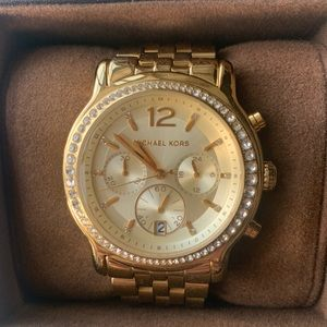 Michael Kors Gold Watch with crystal accents